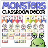 Word Wall Display in a Monsters Classroom Decor Theme for Back To School