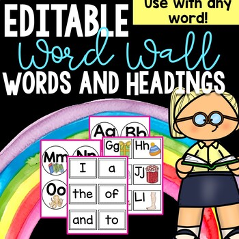 Word Wall Headers and Words EDITABLE