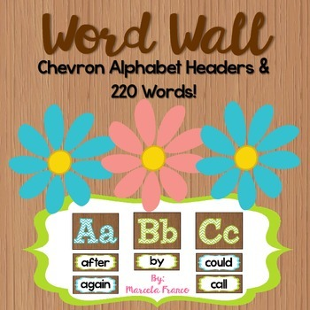 Word Wall Headers and Words ~ Brown, Green, Blue, and Chevron