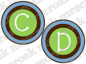 Word Wall Headers: brown, blue & green circles