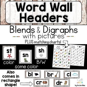 Word Wall Headers for Blends and Digraphs with Pictures Farmhouse Style   Decor