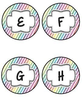 Word Wall Headers in Diagonal Rainbow