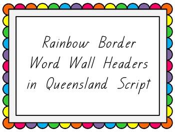 queensland print word wall headers rainbow border by lauren kuhn