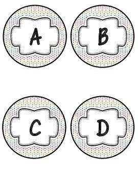 Word Wall Headers in Rainbow Dots