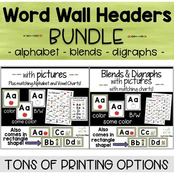 Word Wall Headers with Pictures Bundle - Alphabet Cards, Blends and Digraphs