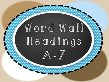 Word Wall Headings A to Z