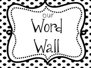 Word Wall Headings: Black & White