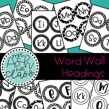 Word Wall Headings - Black and White