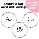 Word Wall Headings - QLD, NSW, VIC and Print Fonts