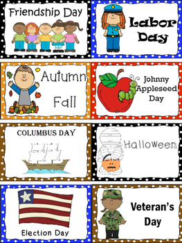 Word Wall Holiday and Events Cards