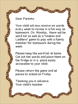 Sight Word Homework - 16 week Program