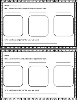 Word Wall Independent Center Sheet