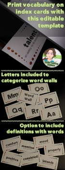Word Wall Index Card Template