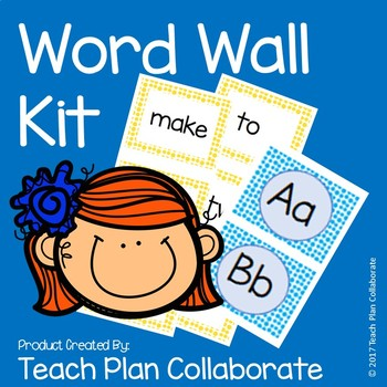 Word Wall Kit- Blue and Yellow Dots