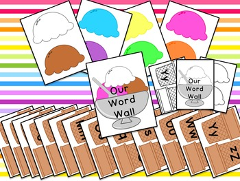 Word Wall Alphabet Kit Ice Cream Theme for Preschool or Kindergarten