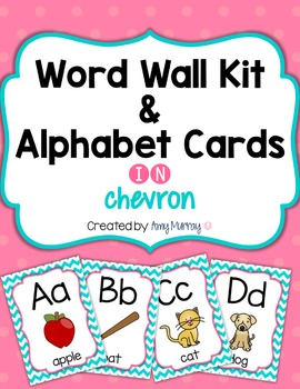 Word Wall Kit and Alphabet Cards in Chevron with EDITABLE word cards
