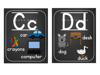 Word Wall Labels & Alphabet Chart {Lined}