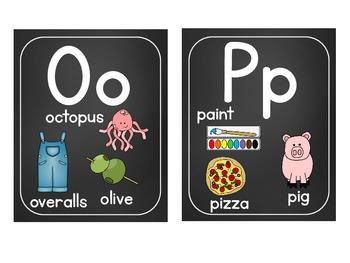 Word Wall Labels & Alphabet Chart {Plain Font Chalkboard}