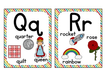 Word Wall Labels & Alphabet Chart {Rainbow}