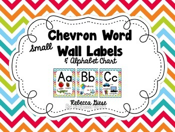 Word Wall Labels & Alphabet Chart {Rainbow Chevron}