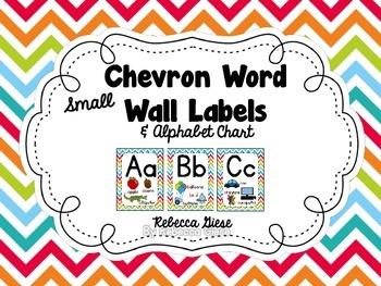 Word Wall Labels & Alphabet Chart {Rainbow Chevron}