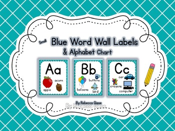 Word Wall Labels & Alphabet Chart {Smaller Blue Lattice}