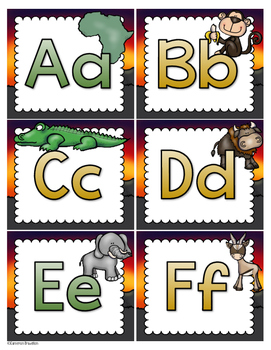 Word Wall Labels Alphabet Letter Cards Jungle Safari Theme