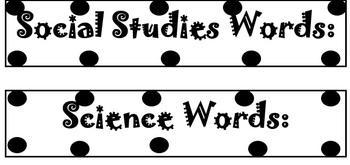 Word Wall Labels - Black & White *FREEBIE*