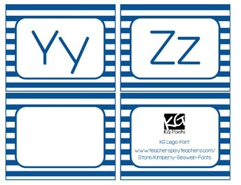 Word Wall Labels and Banner (Blue Stripes)