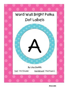 Word Wall Labels Bright Polka Dots