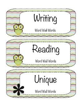 Word Wall Labels Chevron Owls