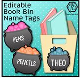 Editable Book Bin Labels, Halloween Name Tags, Cauldron Classroom Labels