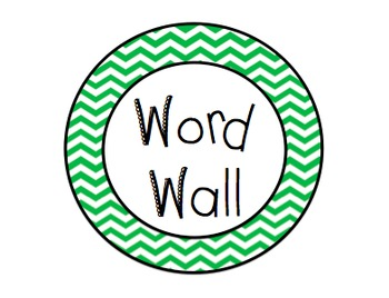 Word Wall Labels (Navy and Green Chevron Theme)