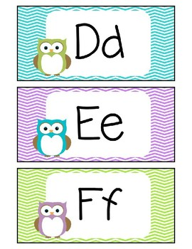 Word Wall Labels - Owl