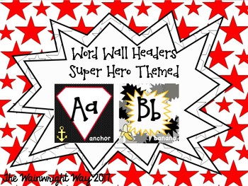 Word Wall Labels- Superhero Themed
