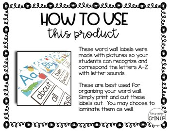 Word Wall Labels {With Pictures}
