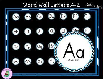 Word Wall Labels Zebra-Blue Pattern