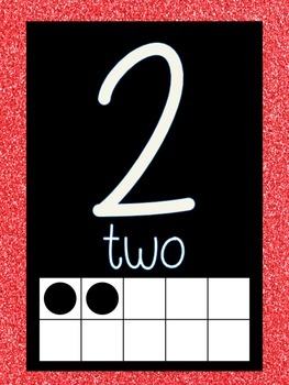 Word Wall Labels and Number Line  (red GLITTER)
