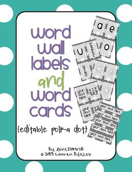 Word Wall Labels and Word Cards {editable polka dots}