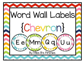 Word Wall Labels in Chevron