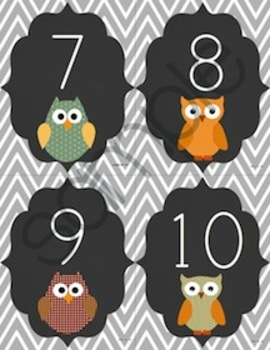 Word Wall Labels in Primary Font - Owls, Chalkboard and Chevron Theme!