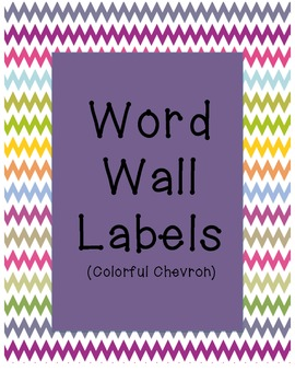 Word Wall Labels (uppercase) - Colorful Chevron