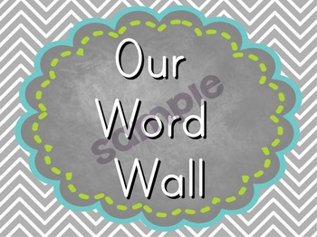 Word Wall Labels with Pictures - Chalkboard and Chevron Theme!