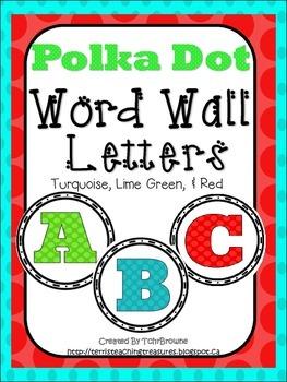 Word Wall Labels - Polka Dots