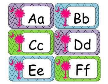 Word Wall Letter Card Labels with Chevron and Palmetto Tree
