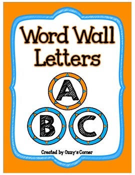 Word Wall Letter Cards - Blue and Orange