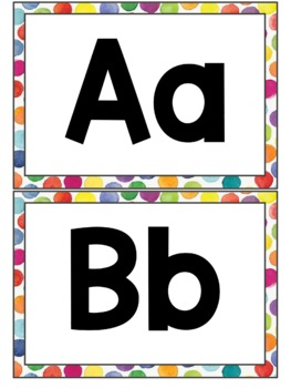 Large Word Wall Letters - Colorful Polka Dots