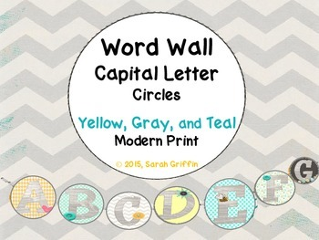 Word Wall Letter Cards Modern Print Circles By Sarah Griffin Tpt