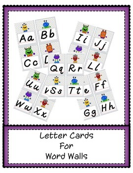 Word Wall Letter Cards--Monsters