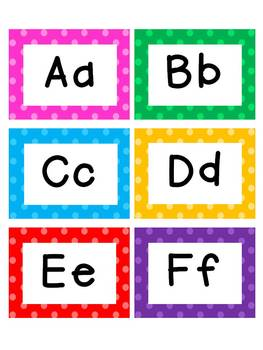 Word Wall Letter Cards - Polka Dot